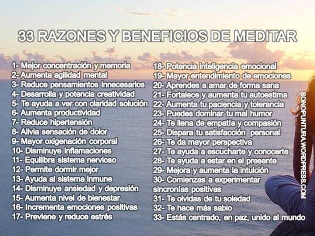 33 Beneficios de la meditación